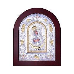 Посеребренная икона Богородица Остробрамская на подставке 000131792