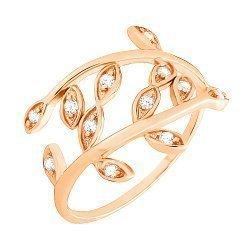 Кольцо из серебра с позолотой и фианитами 000025571