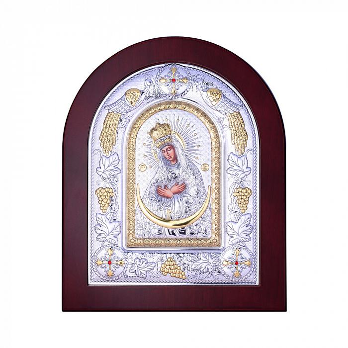 Посеребренная икона Богородица Остробрамская на подставке 000131792 000131792
