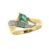 Золотое кольцо в красном цвете с изумрудом и бриллиантами Чита