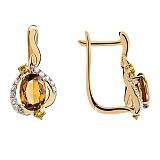Золотые серьги с раухтопазом и бриллиантами Коньячный кварц