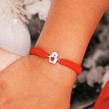 Детский плетеный браслет Мишка с сердечком с красной эмалью, 10-20см