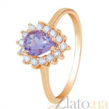 Золотое кольцо Фаина с аметистом и фианитами 000001723