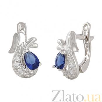 Серебряные серьги с синим цирконием Берфане SLX--С2ФС/098