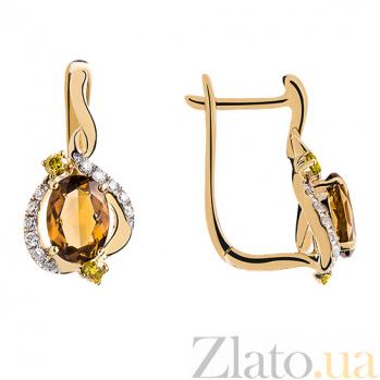 Золотые серьги с раухтопазом и бриллиантами Коньячный кварц 140314с/к