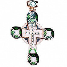 Золотой крестик Святая Молитва с эмалью