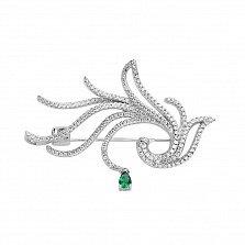 Серебряная брошь Папоротник с зеленым и белыми фианитами