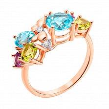 Золотое кольцо Микс камней в красном цвете с аметистом, голубыми топазами, хризолитами и фианитами