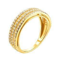 Кольцо в желтом золоте Вирджиния с дорожками фианитов