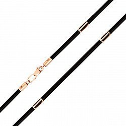 Шнурок из каучука с золотыми элементами и застежкой 2 мм 000128014