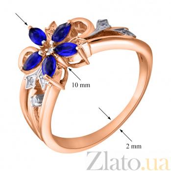 Золотое кольцо Роксана с сапфирами и бриллиантами ZMX--RDS-5563_K