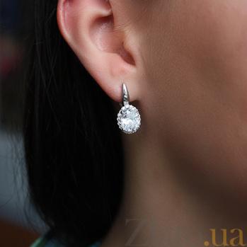 Серебряные серьги с цирконием Мерьем 000029204