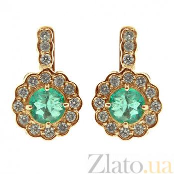Золотые серьги с бриллиантами и изумрудами Пирра 000021883