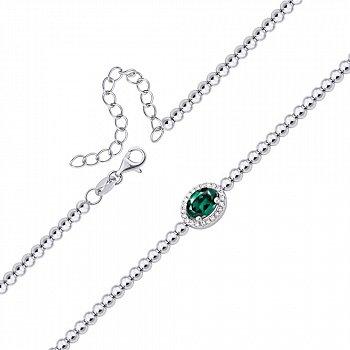 Срібний браслет зі смарагдом і фіанітами 000133457