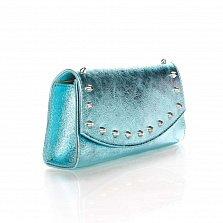 Кожаный клатч Genuine Leather 1692 голубого цвета с декоративными элементами и цепочкой