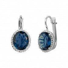 Серебряные серьги Симона с синим синтезированным кварцем и фианитами