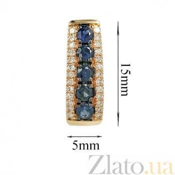 Золотые серьги с сапфирами и бриллиантами Аврора 000026646