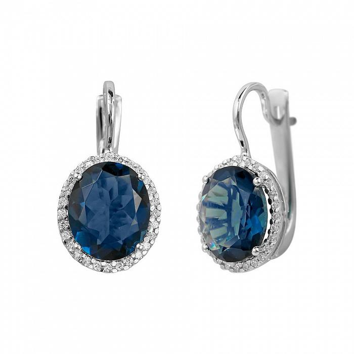 Серебряные серьги Симона с синим синтезированным кварцем и фианитами 000081861