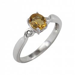 Серебряное кольцо с цитрином и топазами Чайный вечер