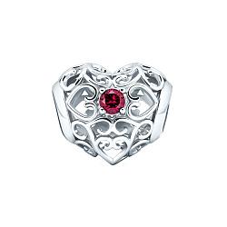 Серебряный шарм Элемент в виде ажурной бусины-сердечка с красным корундом