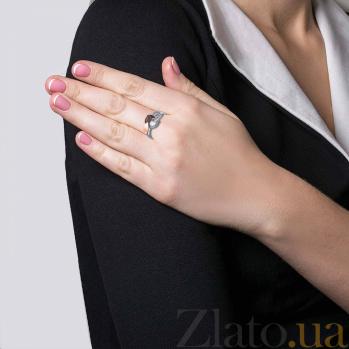 Серебряное кольцо Муза с фианитом и вставкой золота  AQA-582Кл_Ср