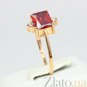 Золотое кольцо Мадлен с гранатом и фианитами VLN--112-943-3