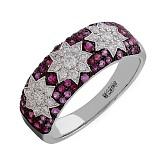 Золотое кольцо Джема с рубинами, розовыми сапфирами и бриллиантами