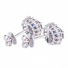 Золотые серьги гвоздики с сапфирами и бриллиантами Кармэль