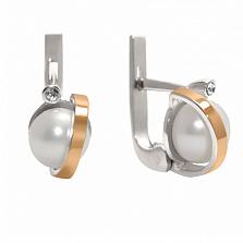 Серебряные серьги с жемчугом и золотыми вставками Белиссимо