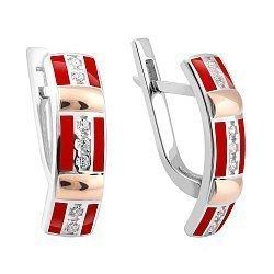Серебряные родированное серьги с золотыми накладками, фианитами и красной эмалью 000113271