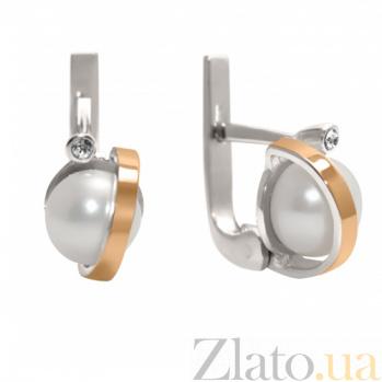 Серебряные серьги с жемчугом и золотыми вставками Белиссимо BGS--322с