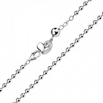 Срібний браслет в плетінні кульки з підвіскою 000140503
