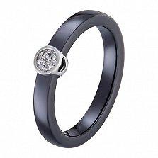 Кольцо в белом золоте Инга с керамикой и бриллиантами