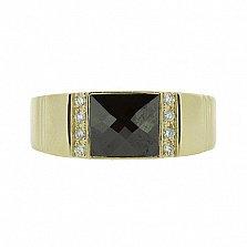 Перстень в жёлтом золоте с бриллиантами и ониксом Гела