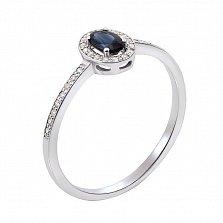 Золотое кольцо Соната в белом цвете с бриллиантами и сапфиром