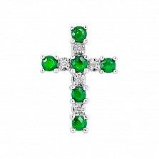 Крестик из белого золота Дариана с изумрудами и бриллиантами