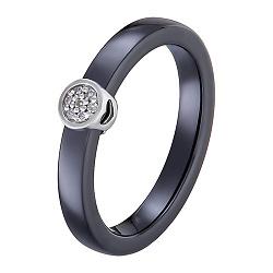 Кольцо в белом золоте Инга с керамикой и бриллиантами 000054064