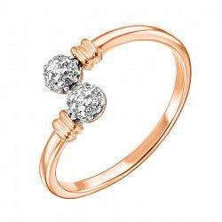 Кольцо из красного золота с фианитами и родированием 000136310