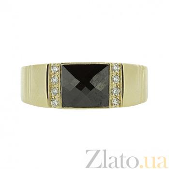 Перстень в жёлтом золоте с бриллиантами и ониксом Гела 000021367