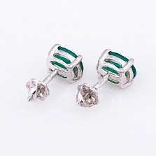 Серебряные серьги Джастина с зеленым ониксом