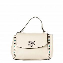 Кожаная деловая сумка Genuine Leather 8659 бежевого цвета с клапаном на механическом замке