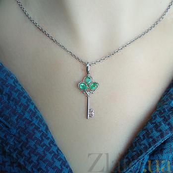 Серебряный кулон Чудо-ключик с изумрудами и бриллиантом ZMX--PDE-6724-Ag_K