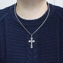 Серебряный крест Мессия с чернением