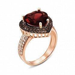 Кольцо из красного золота с гранатом, коньячными и белыми фианитами 000133553