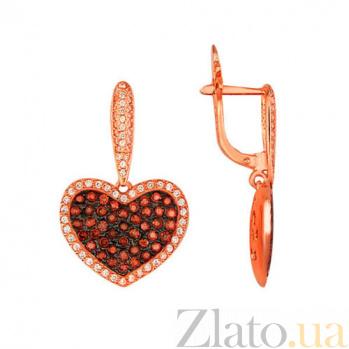 Серьги-подвески из красного золота с красным цирконием Сердце Амура VLT--Т257-2
