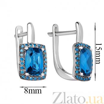 Золотые серьги Княгиня Ольга с лондон топазами и голубыми бриллиантами SVA--2190916202/Топаз лондон