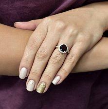 Кольцо в белом золоте Норма с гранатом и фианитами