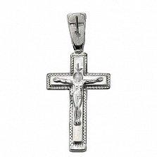 Крестик из серебра Светлый день с чернением