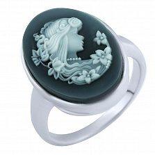Кольцо из серебра Пенелопа с ониксом и перламутром