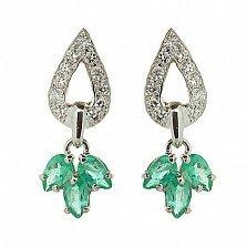 Серебряные серьги с бриллиантами и изумрудами Санти